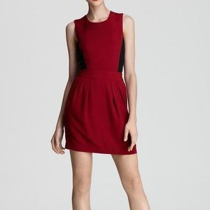 Theory Black Red Garnet Darua Sleeveless Dress